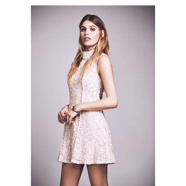 FREE PEOPLE Queen anne mock neck mini dress - Beautiful lace mini dress featuring a flirty skirt and...