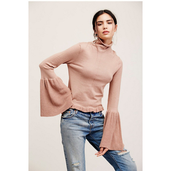 FREE PEOPLE Ruffle fan pullover - Comfy knit pullover featuring a drapey turtleneck with...
