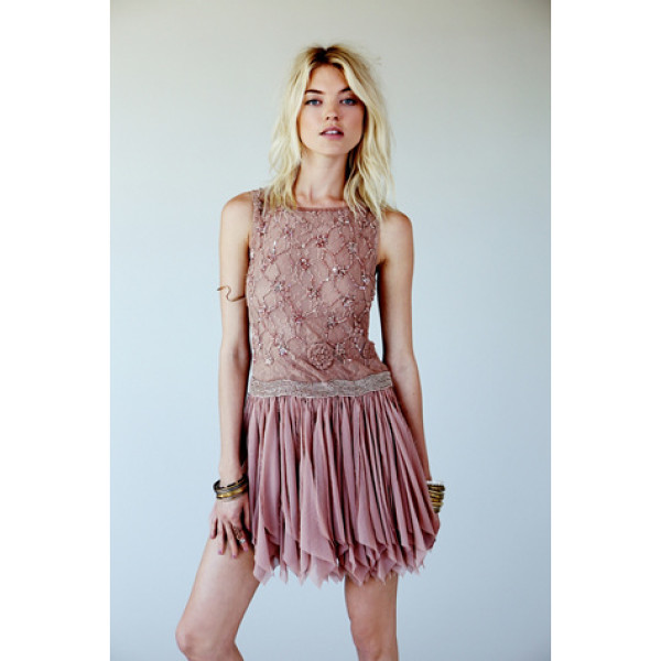 FREE PEOPLE Samantha embellished dress - Semi-sheer chiffon party dress with heavy bead and sequin...