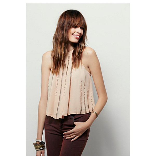 FREE PEOPLE Shimmer and shine tank - Swingy cropped tank with beaded embellishment accents. High...