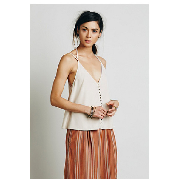 FREE PEOPLE Shimmy shaker tank - Shapeless V-neck tank with metal button closures and a low...