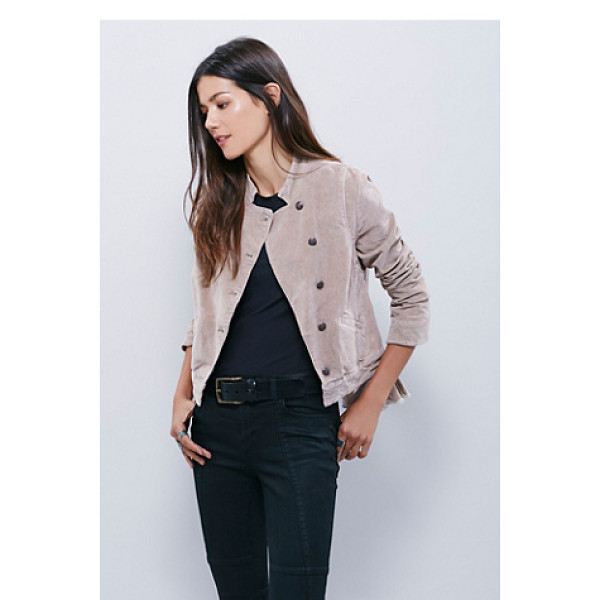 FREE PEOPLE Shrunken uncut cord jacket - Military inspired uncut cord jacket cropped to the natural...