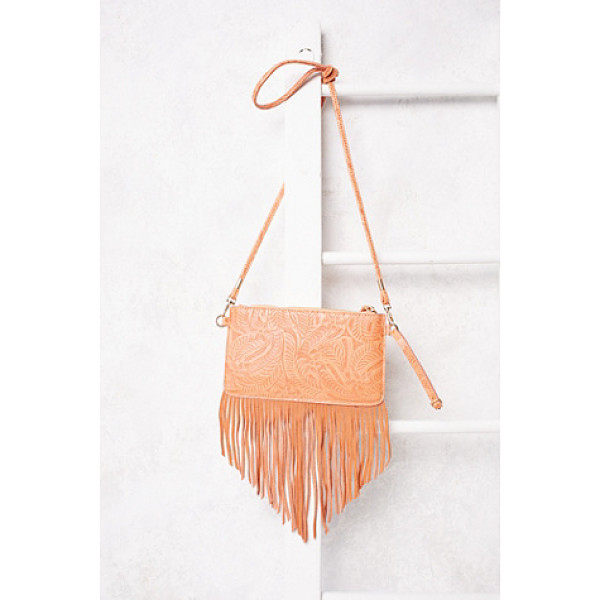FREE PEOPLE Vegan tooled wallet - Beautifully tooled leather crossbody featuring suede fringe...