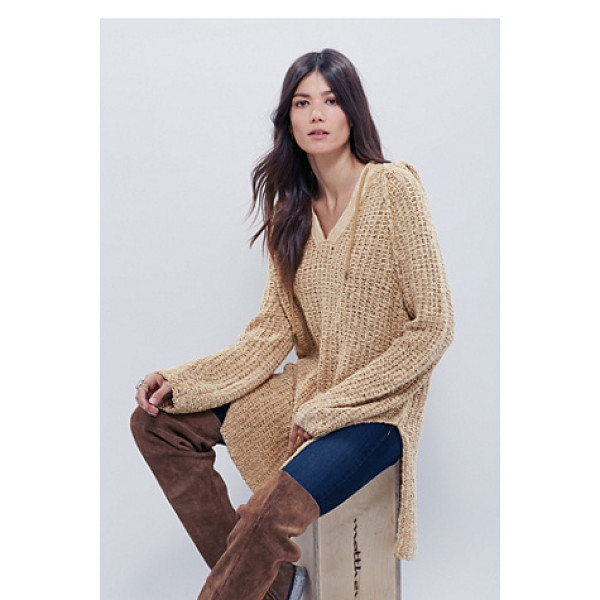 FREE PEOPLE Underground hoodie dress - Textured loose-knit hoodie with a drawstring neckline and...
