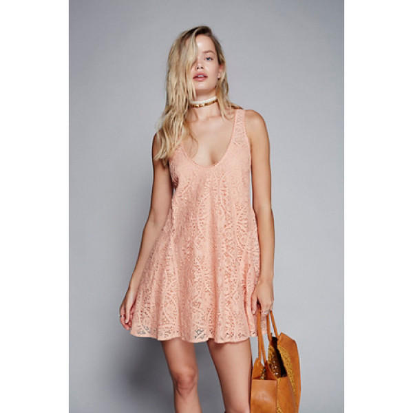 FREE PEOPLE Voop lace mini dress - Lovely lace dress with an easy swingy silhouette. Scooped...
