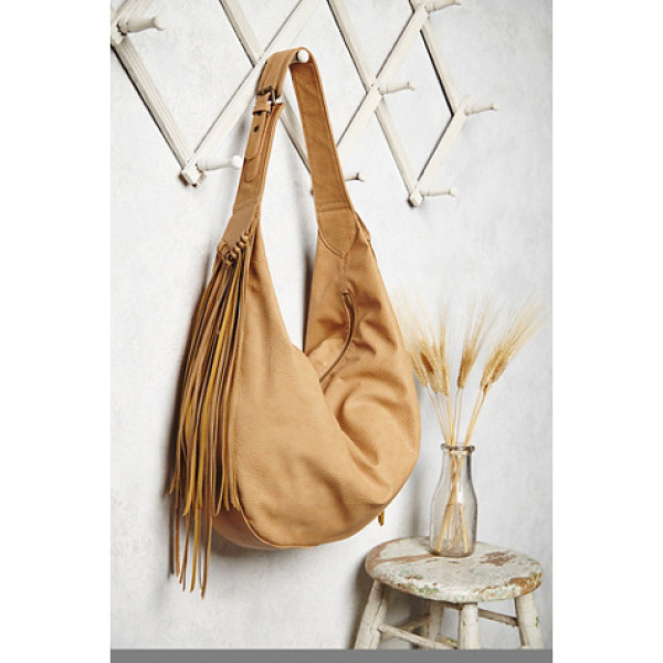 FREE PEOPLE Wild heart vegan hobo - Pebbled vegan leather hobo bag with fringe accent detailing...