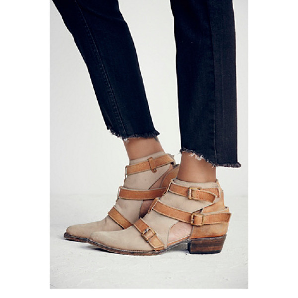 FREEBIRD BY STEVEN + FREE PEOPLE< Jade ankle boot - Pointy toe leather booties featuring contrast strap...