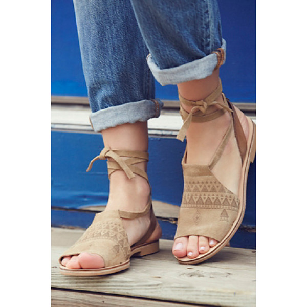 HOWSTY Folk song sandal - Slip-on suede sandals featuring a tribal-inspired print and...