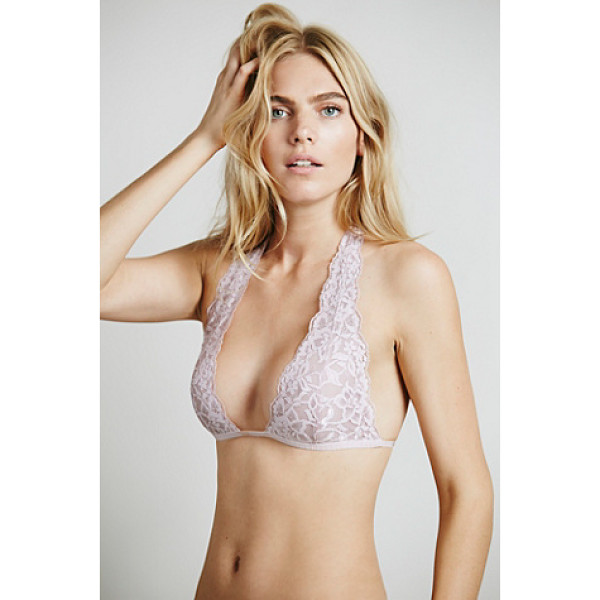 INTIMATELY Truly madly deeply halter - Lace plunge halter bra with stretchy elastic band around...