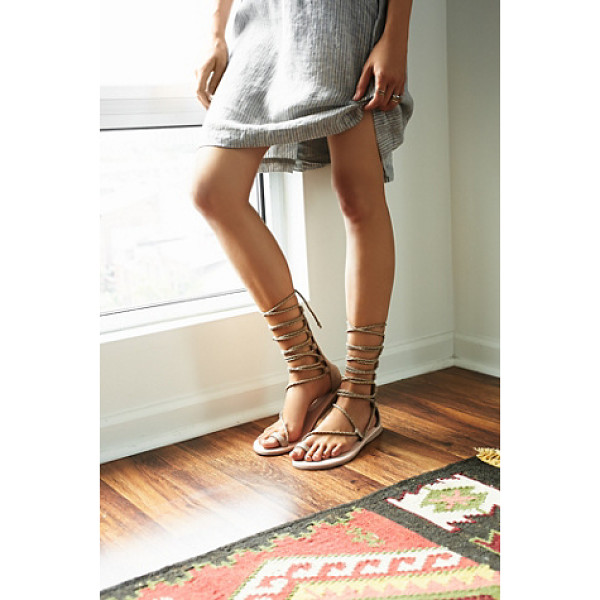 JEFFREY CAMPBELL + FREE PEOPLE Aleyla mid gladiator - Suede gladiator sandals with braided lace-up styling and a...