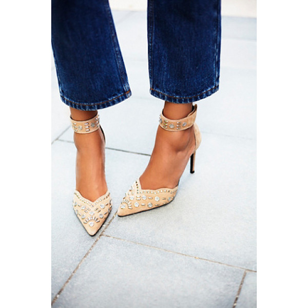 JEFFREY CAMPBELL + FREE PEOPLE Party favor studded heel - Suede stilettos with statement stud embellishment. Features...