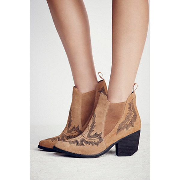 JEFFREY CAMPBELL Frontier stitch boot - Western-inspired suede ankle boots featuring contrast...