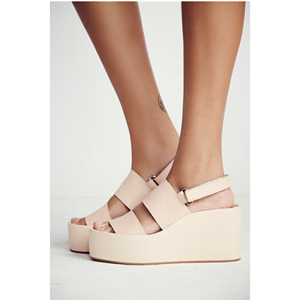 JEFFREY CAMPBELL Koi platform wedge - Leather platform sandals with adjustable Velcro back straps...