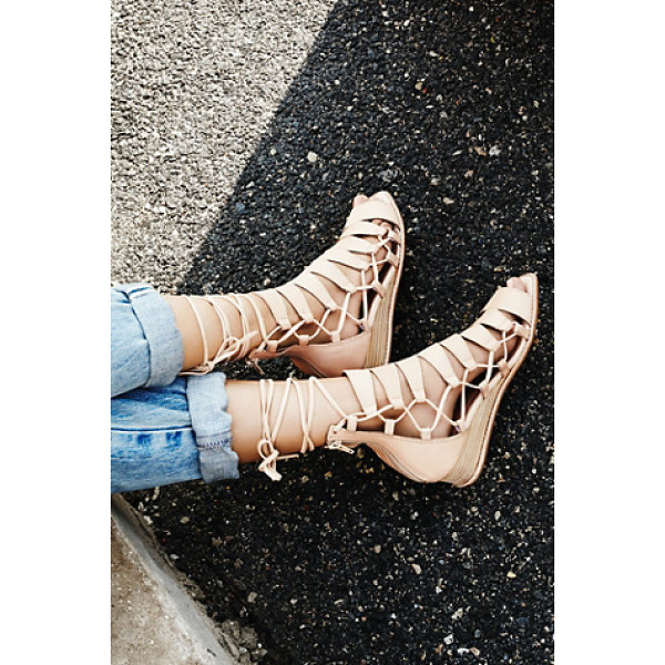JEFFREY CAMPBELL Amara lace up sandal - Leather lace-up sandals with a square toe and cutout...