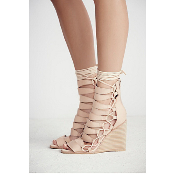 JEFFREY CAMPBELL Fooled you lace up wedge - Soft washed leather featuring cutout detailing and...