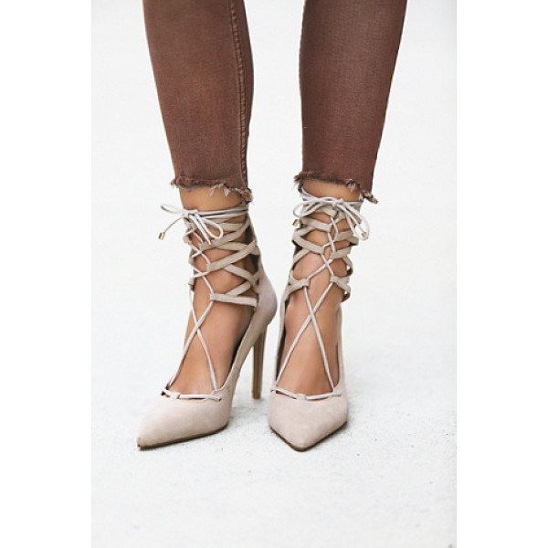 JEFFREY CAMPBELL + FREE PEOPLE Hierro heel - Suede stilettos that lace up over the ankle and zip up the...