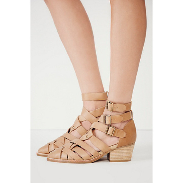 JEFFREY CAMPBELL + FREE PEOPLE Hunts point ankle boot - Strappy woven leather shoes with short stacked heels and...