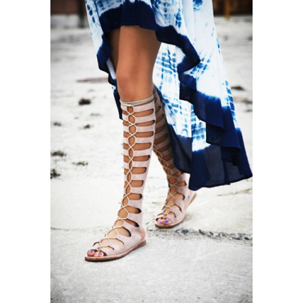 JEFFREY CAMPBELL + FREE PEOPLE Rae sandal - Tall and strappy suede gladiator sandal. Zips all the way...