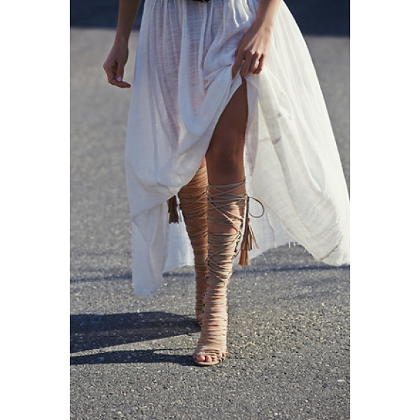 JEFFREY CAMPBELL Levluv heel - Knee high suede lace-up wrap around heeled sandals. The...