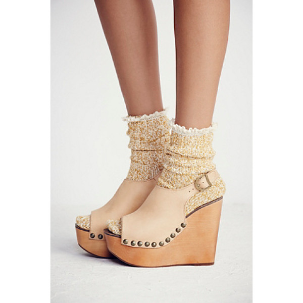 JEFFREY CAMPBELL Olivia wedge - Soft leather open toe wedges with an elastic back for extra...