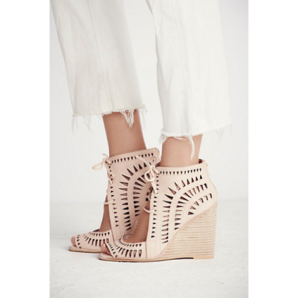JEFFREY CAMPBELL Serena wedge - Laser cut leather wedges featuring an open toe adjustable...