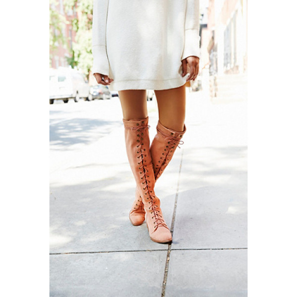 JEFFREY CAMPBELL + FREE PEOPLE Joe lace up otk boot - Leather over-the-knee lace-up boots. Metal eyelet...