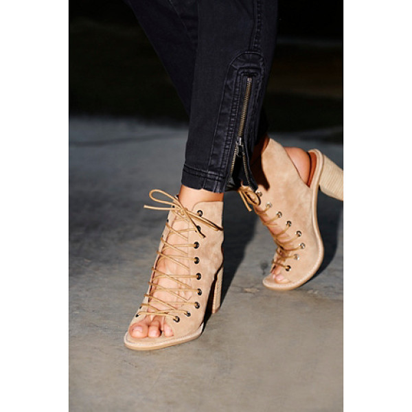JEFFREY CAMPBELL + FREE PEOPLE Minimal lace up heel - Distressed leather open-toe lace-up heel. Open at back of...