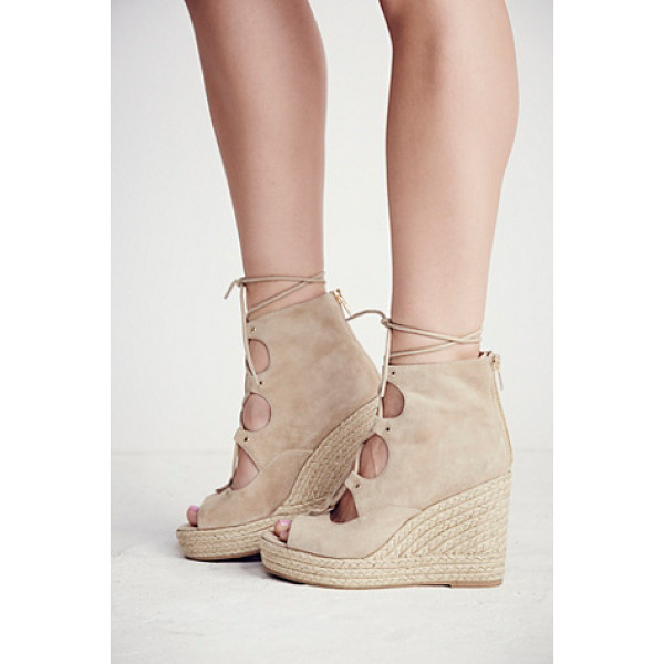 J/SLIDES Prima lace up wedge - Lace-up espadrille wedges with suede uppers and an open-toe...