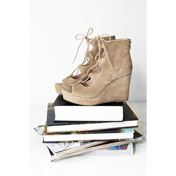 J/SLIDES Three wishes lace up wedg - Lace-up suede wedges and an open toe design. Features...