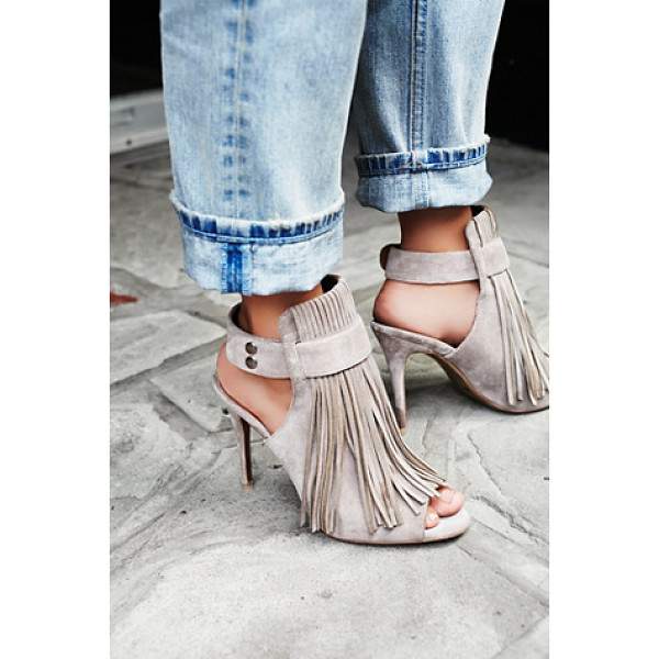 MATIKO Stardust fringe heel - Suede stiletto mules with statement fringe and open toes....