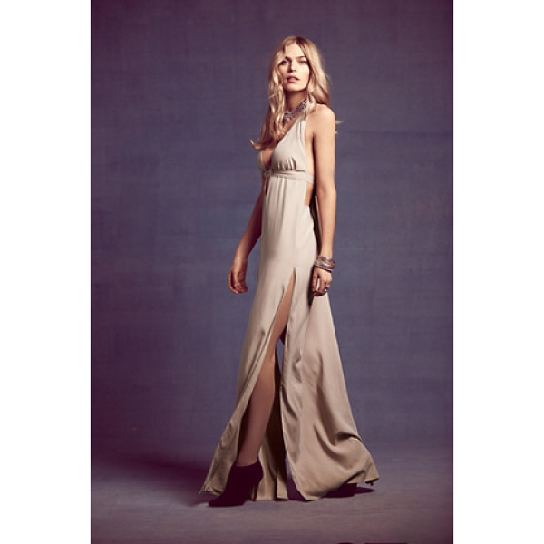 SAUNDER Eve gown - Stunning blush-toned gown with a plunging neckline and...