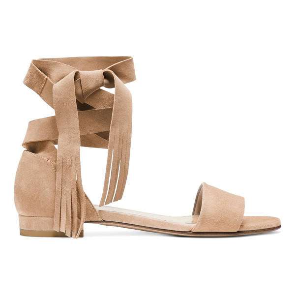 STUART WEITZMAN Corbata - Sumptuous suede elevates these ankle-wrap sandals, and...