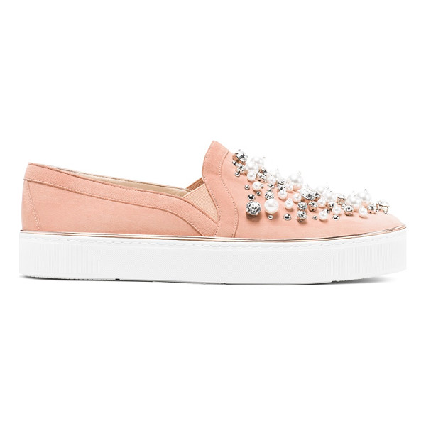 STUART WEITZMAN Decor - Sport-luxe slip-on sneakers get glam. Choose from sumptuous...