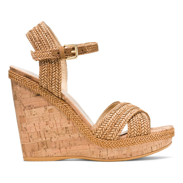 STUART WEITZMAN Minx - This neutral-hued, wear-with-anything cork-heeled wedge is...