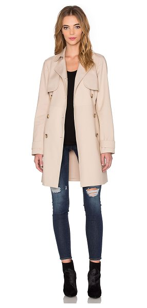 1. STATE Doubleweave Trench Coat in beige - Poly blend. Dry clean only. Button front closure. Side...