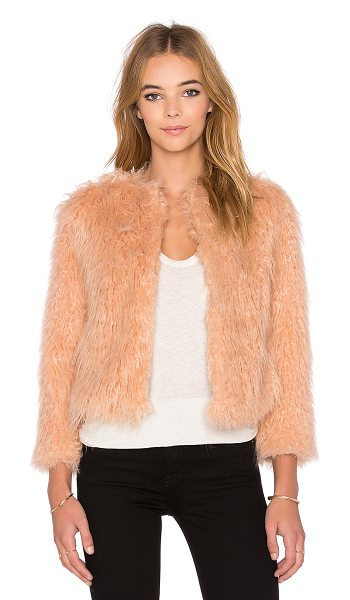 1. STATE Faux fur jacket in blush - 55% acrylic 45% modacrylic. Dry clean only. Hook front...