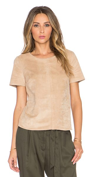 1. STATE Faux Suede Short Sleeve Tee in beige - 87% poly 13% spandex. Dry clean only. Faux suede. Back...