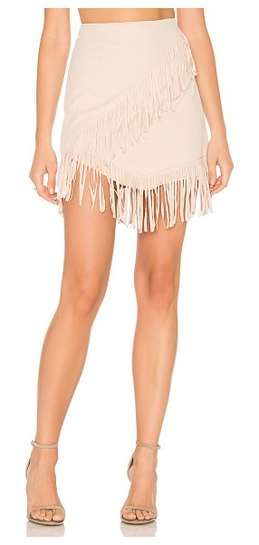 "1. STATE Fringe Wrap Faux Suede Mini Skirt in beige - ""91% poly 9% spandex. Unlined. Back hidden zipper..."