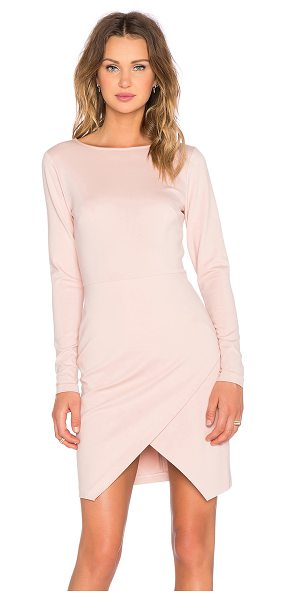 1. STATE Long Sleeve Ponte Wrap Front Bodycon Dress in blush