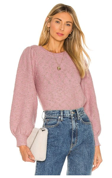 1. STATE mohair metallic pullover in pink