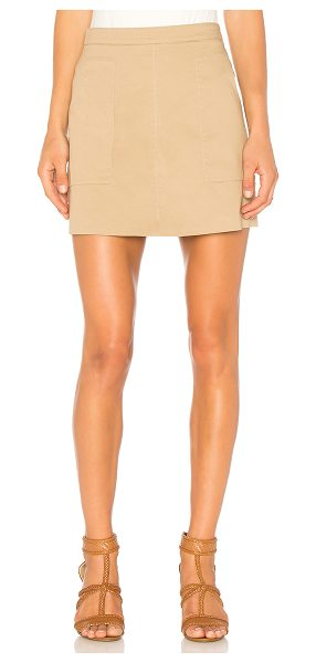 """1. STATE Patch Pocket A-Line Skirt in tan - """"Self: 98% cotton 2% elastaneLining: 100% cotton...."""