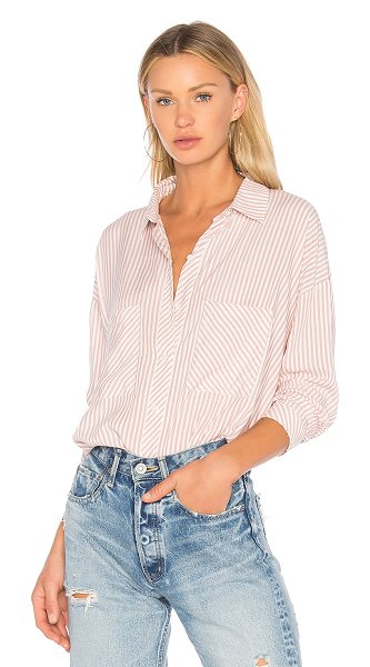 1. STATE Patch Pocket High Low Blouse in pink - Cotton blend. Hand wash cold. Front button closure....