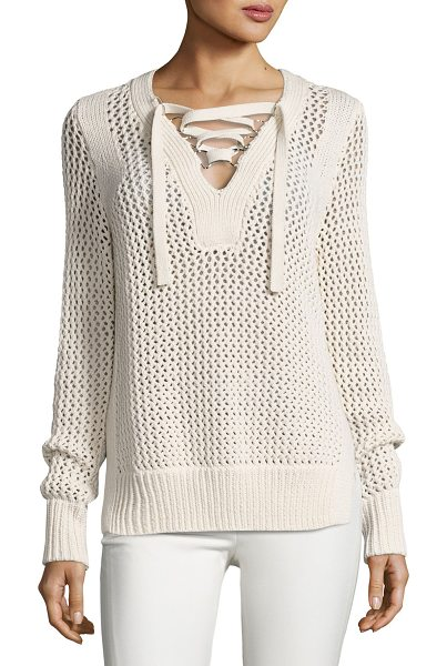 10 Crosby Derek Lam Crochet Lace-Up Pullover Sweater in natural - Derek Lam 10 Crosby cotton sweater in crochet knit with...