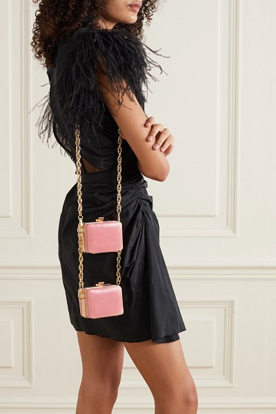 16ARLINGTON ralphie double mini leather shoulder bag in baby pink