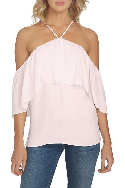 1.State 1. state halter neck ruffle blouse in flora pink - Look instantly more glamorous in this slightly slouchy...