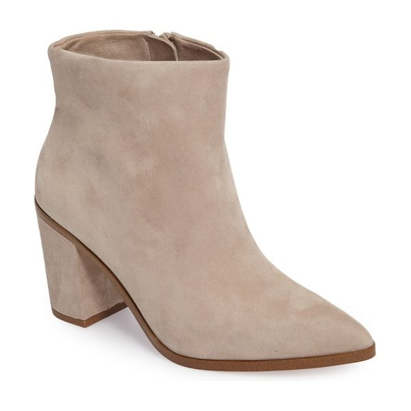 1.State paven pointy toe bootie in malted beige suede - A covered block heel balances the pointed toe of a go-to...