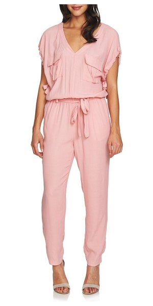 1.State blouson jumpsuit in rose nectar - Chest flap pockets and drawstring ties update this...