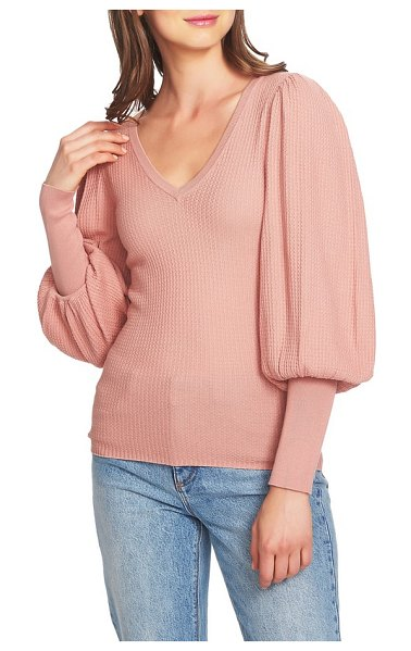 1.State blouson sleeve textured sweater in pink - Grand gestures are best made in fitted sweaters with...