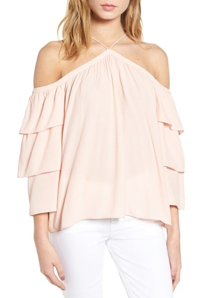 1.State cold shoulder blouse in shadow pink - A shoulder-baring halter neckline adds a graceful...