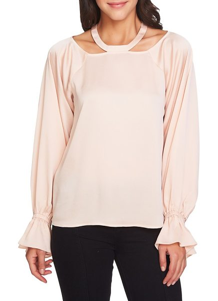 1.State cold shoulder satin blouse in blush frost - A new take on the season's shoulder-baring trend, this...